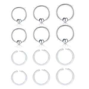 Vcmart 14G Surgical Steel Attached Captive Bead Nose Rings Hoop Spring Navel Eyebrow Septum Rings Piercing  Clear Lip Ear Cartilage Helix Tragus Earrings Piercing Retainer