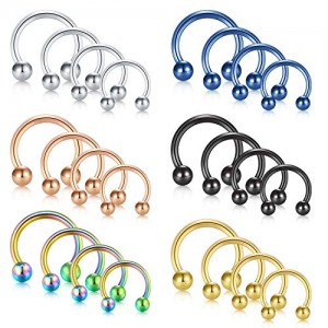 Vcmart Surgical Steel Lip Nose Septum Rings Hoop Lobe Tragus Earrings Eyebrow Tongue Nipple Horseshoe Barbell Cartilage Helix Daith Hoop Labret Body Piercing Jewelry Kit 16G 14G 12G