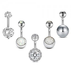 Vcmart 5pcs Mix Style Belly Button Rings Pack Surgical Steel Round Cubic Zirconia Navel Barbell Body Piercing Jewelry 14G Short Belly Bar 1/4' 3/8' 6mm 10mm