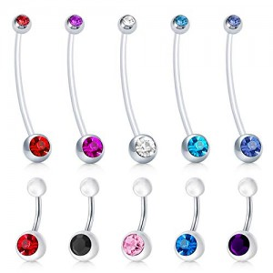 Vcmart 14G Jeweled CZ Pregnancy Belly Button Rings Maternity Sport Belly Ring Stainless Steel Belly Navel Piercing Rings Barbell for Women Girls 10mm 38mm