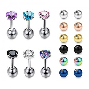 Vcmart 16G Cartilage Studs Earrings Labret Lip Rings Surgical Steel Monroe Lobe Tragus Conch Piercing Barbell with Replacement Ball Pack 1/4' 6mm