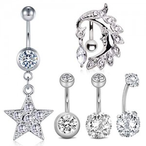 Vcmart 14G Stainless Steel Belly Button Rings 10mm Curved Barbell Belly Navel Piercing Bar CZ Belly Rings