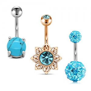 Vcmart 3Pcs Belly Button Rings Stainless Steel 14G Sun Shaped Navel Rings Barbells Piercing Women Girls Body Piercing