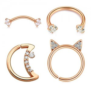 Vcmart 4Pcs Daith Earrings Conch Earrings Moon Shaped CZ Horseshoe Stainless Steel 16G Cartilage Tragus Helix Daith Conch Earrings Eyebrow Barbells for Women and Men Piercing Jewelry