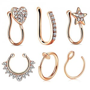 Vcmart 6Pcs Nose Rings Fake 16G Stainless Steel Inlaid CZ Faux Piercing Jewelry Fake Nose Ring Spring Clip on Circle Hoop No Pierced Septum Nose Ring Women Men