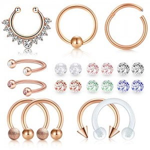 Vcmart 16g Fake Septum Rings Piercing Nose Rings Hoop Stainless Steel Lip Daith Cartilage Tragus Earrings Piercing Retainer with Replacement Glitter Balls