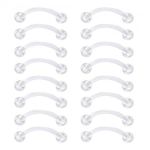 Vcmart 14G Clear Eyebrow Rings Retainers Flexible Curved Barbell Rook Earrings Retainer Daith Piercing Retainers 12mm 14mm 16mm 18mm Bar Length
