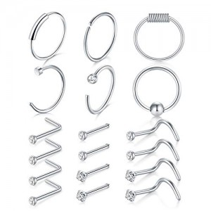 Vcmart 22g Nose Rings Hoop L-Shaped Nose Rings Studs Screw Stainless Steel CZ Top 18pcs Nose Piercing Set
