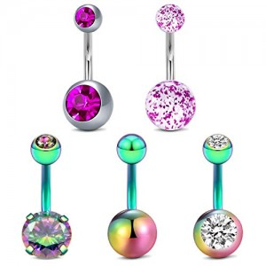 Vcmart Belly Button Rings 14g Stainless Steel Belly Rings 6mm 10mm Navel Rings Piercing Bar for Women Girls