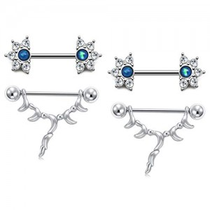 Vcmart 14G Nipple Rings Stainless Steel Nipplering Piercings Women 16mm Nipple Piercing Bar