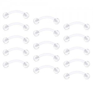 Vcmart 14G Clear Curved Barbell Eyebrow Rings Retainer Belly Navel Piercing Retainer Daith Rook Earrings Piercing Retainer 12-18mm