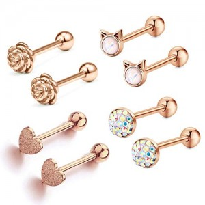 Vcmart 14G Tongue Rings Nipple Ring Surgical Steel Nipplerings Piercings Women 16mm 5/8' Tongue Piercing Jewerly 4 Pairs