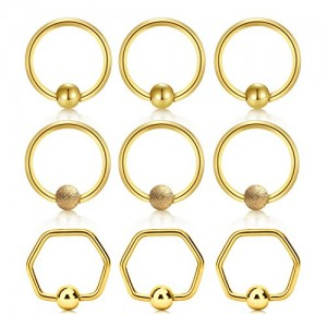 Vcmart 16g Tragus Cartilage Hoop Earrings Nose Rings Hoop Lip Eyebrow Tongue Helix Earring Septum Piercing Rings Hoop Jewerly