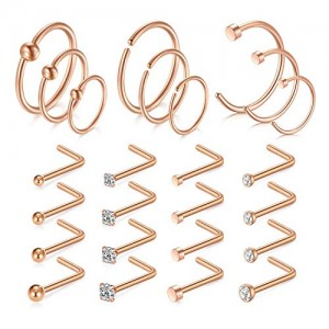 Vcmart 25pcs 18G Nose Rings Studs Stainless Steel Nose Rings Hoop L Shaped Nose Studs Rings Piercing Jewelry 1.5mm 2mm 2.5mm 3mm CZ Inlaid
