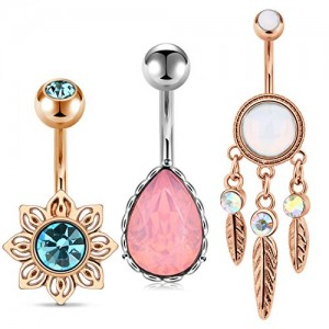 Vcmart 3Pcs Belly Button Rings in 3 Styles Stainless Steel 14G Opal Navel Rings Belly Button Piercing Barbells Studs Women Girls Body Piercing Jewelry