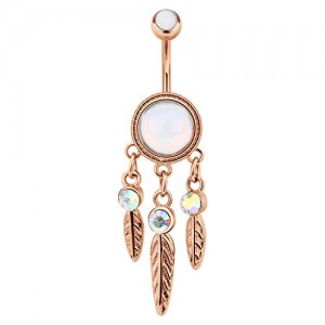 Vcmart 1 Pc Belly Button Rings in 3 Styles Stainless Steel 14G Leaf Shaped inlaid Opal Navel Rings Belly Button Piercing Barbells Studs Women Girls Body Piercing Jewelry