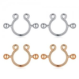 Vcmart 2 Pairs Fake Clip On Nipple Rings Surgical Steel Adjustable Non-Pierced Nipplerings Piercing Circular Barbell Faux Nipple Jewelry for Women Girls