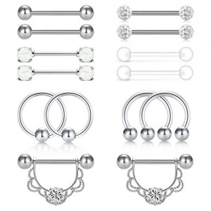 Vcmart 14G Stainless Steel Nipple Rings CBR Chain Dangle Nipplerings Piercing Straight Clear Nipple Tongue Rings Piercing Barbell Retainer Cartilage Earrings for Women Men 7 Pairs