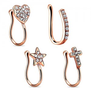 Vcmart Fake Nose Rings Stainless Steel Inlaid CZ Clip on No Pierced Nose Ring Faux Piercing Jewelry