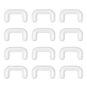 Vcmart 14G 16G Clear Bioflex Septum Rings Retainers 12pcs Clear Septum Piercing Retainer
