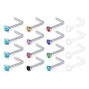 Vcmart 20G Stone Nose Rings Studs 16pcs Stainless Steel CZ Nose Ring Piercings Jewelry  Clear Nose Rings Retainer