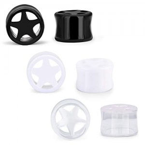 Vcmart 6 Pcs Ear Tunnels Plugs Acrylic Hollow Star Design Ear Plugs Ear Piercing Ear Stretcher For Women Men Ear Gauge 10-20mm Clear White Black