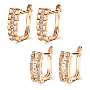 Vcmart 2 Pair Huggie-Hoop Earrings Cubic Zirconia Inlaid U Shape Earring Hoop for Women Girls