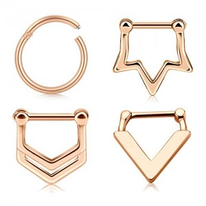 Vcmart 16G Nose Septum Rings Hoop Daith Tragus Earrings Surgical Steel Lobe Helix Cartilage Ear Clicker Nose Hinged Septum Piercing Jewelry