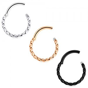 Vcmart 3-5 Pcs Hinged Clicker Segment Septum Ring Horseshoe Barbell Daith Tragus Helix Earring 16G Stainless Steel Braided Style Ring Unisex