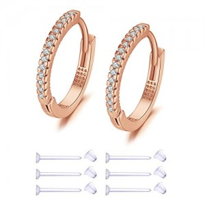 Vcmart Cubic Zirconia Hoop Earrings for Women with 3 pairs Studs Earring Piercing Retainer