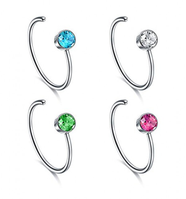 Vcmart Faux Nose Ring Set 18g 20g Fake Nose Hoop Rings Heart Ball Decal Ring Jewelry Set For Nose