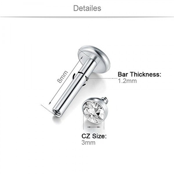 Briana Williams 16G Tragus Earrings Studs Surgical Steel Helix Cartilage Earring Daith Rook Piercing Lip Rings Labret Stud Monroe Piercing Jewelry for Women Men
