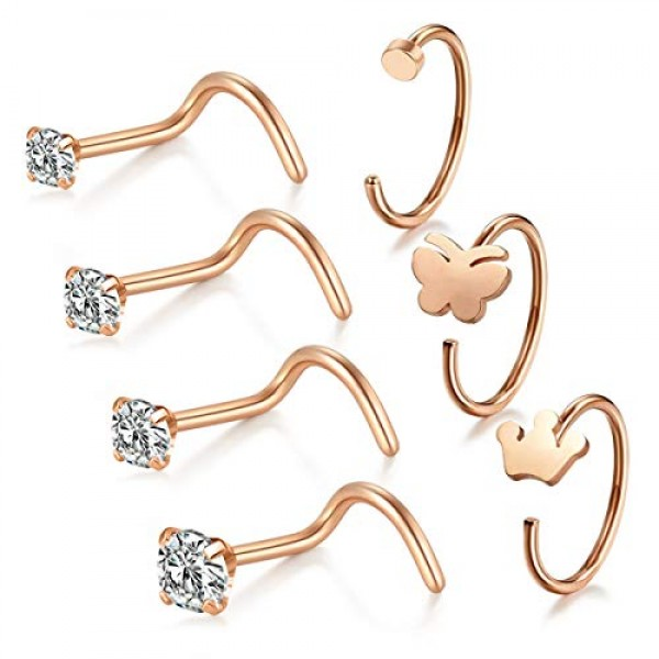 Briana Williams 18g Surgical Steel Nose Rings Studs Clear Round Cz