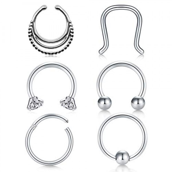 Briana Williams 20PCS 16G Stainless Steel Helix Tragus Earrings Labret Lip Rings Studs Clear Medusa Monroe Piercing Jewelry Rings Retainer 6-10mm
