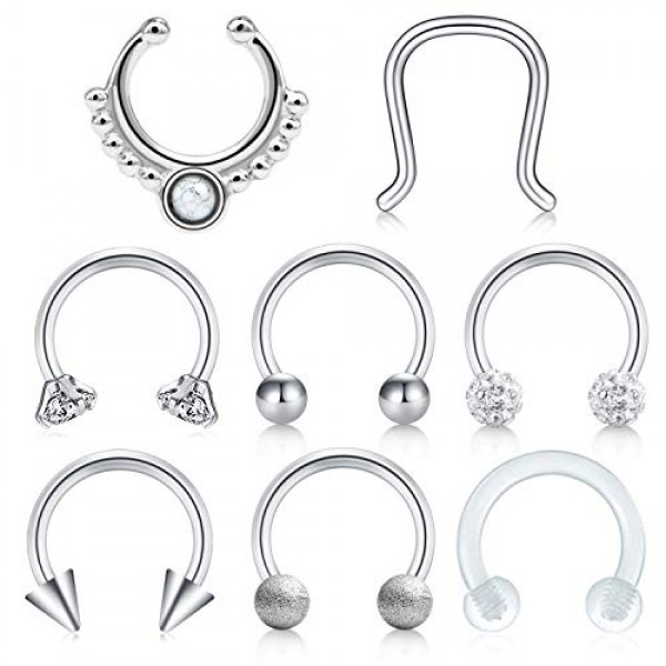 "18g~5//16/""~8mm Steel Horseshoe Lip,Nipple,Earring,Septum"