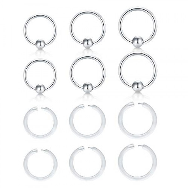 QWALIT Clear Lip Rings Labret Studs Septum Nose Rings Hoop Tragus Cartilage Helix Daith Rook Earrings Clicker Plastic Industrial Barbell Tongue Belly Button Piercing Retainer for Work Surgery