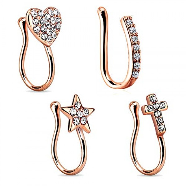 Vcmart 4pcs Fake Nose Rings 16g Stainless Steel U Shaped Inlaid Cz
