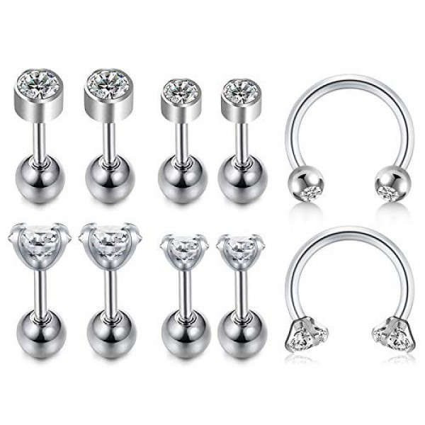 """MOTHER-DAUGHTER HEART CARTILAGE TRAGUS BAR STUD 16G 1//4/"""" STEEL PIERCING JEWELRY"""
